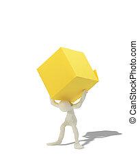 Box Burden - Plasticine man with big yellow box on his...