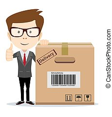 box., business, moderne, grand, sourire, carton, homme
