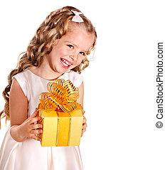 box., cadeau, anniversaire, gosse