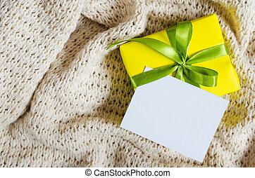box., cadeau, carte postale, couverture, tricoté, arrière-plan., vide, présent