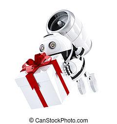 box., cadeau, exprès, robot, livrer, livraison, concept