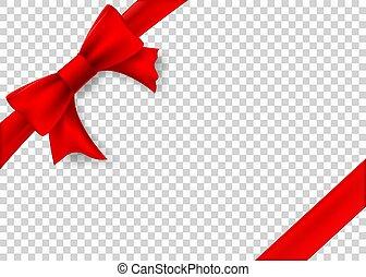 box., cadeau, isolé, arc, arrière-plan., ruban, gabarit, transparent, rouges