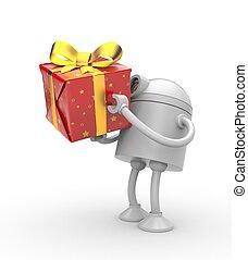 box., cadeau, robot, illustratie, rood, 3d