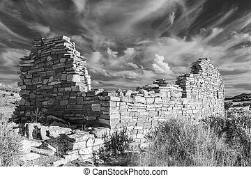 Box Canyon Ruin in Black and White