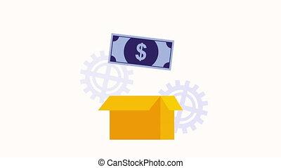 box carton with bill dollar money ,hd video animation