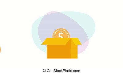 box carton with coin money ,hd video animation