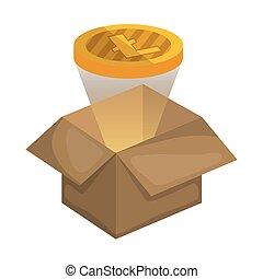 box carton with litecoin vector illustration design