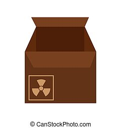 box carton with nuclear sign