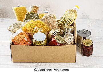 box., cereales, cartón, conservado, vario, alimento, pastas