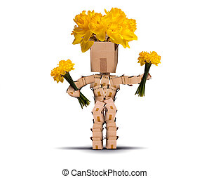 Box character holding bunches of daffodils