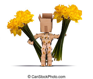 Box character holding large bunches of daffodils