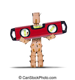 Box character lifing a spirit level