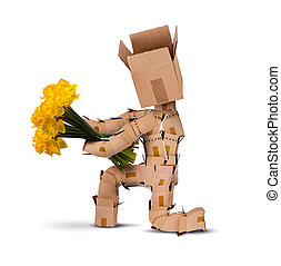 Box character on bended knee with flowers