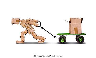 Box character pulling box on trolley - Box character pulling...