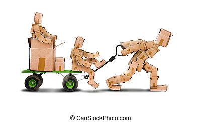 Box character pulling boxkids on trolley