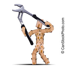 Box character using large pliers