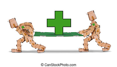 Box character with stretcher & first aid - Box character...