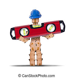 Box character worker holding a spirit level