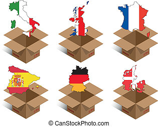 box countries - set illustration of box with shape of...