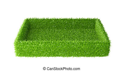 Box covered a green grass.
