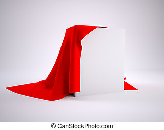 Box covered with red cloth. render studio
