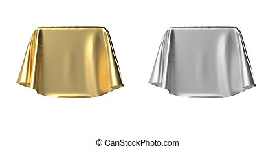 Box covered with shiny satin fabric 3D illustration
