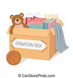 box., cuidado, generosidad, donación, caridad, clothes., concepto, niños, personas., sin hogar, vector, social, pobre, juguetes, libros, caja, llenado