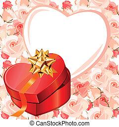 box., cuoriforme, regalo, cornice, seamless, fondo