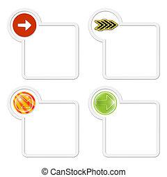 box, dát, text, šípi, tři, každý