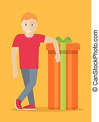 box., dare regalo, concept., vettore, presente, uomo