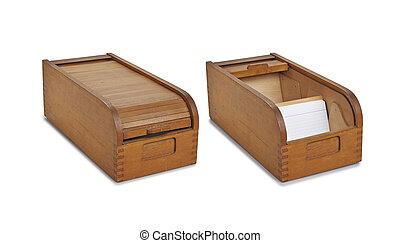 box., databank, ouderwetse , concept., bibliotheek, bestand, catalog., of, kaart