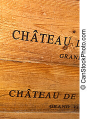 Box - Detail of a wooden box in a winery