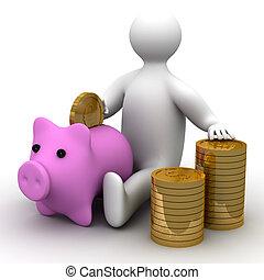 box., dinheiro, imagem, pessoa, pôr, moeda, 3d