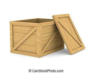 box., drewniany, wizerunek, odizolowany, opróżniać, 3d