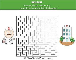 box., feuille, game:, poste, facteur, labyrinthe, activité, ...