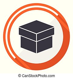 Box flat design vector web icon. Round orange internet button isolated on white background.