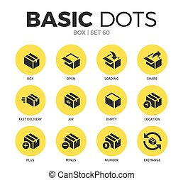 Box flat icons vector set