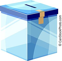 Box for donations icon, cartoon style