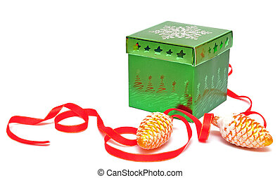box for gifts and christmas decoration
