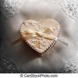 Box for wedding rings in the form of heart