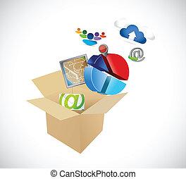 box full of app and tools. illustration design