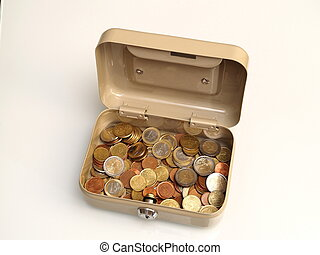 box full of euro coins