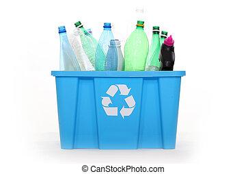 box full of plastic bottles for recycling