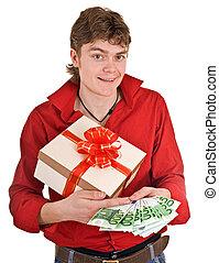 box., gåva, bemanna, pengar