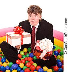 box., gåva, födelsedag, affärsman
