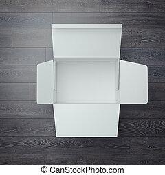 box., geöffnet, übertragung, weißes, karton, 3d