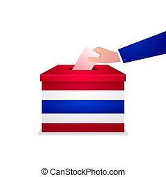 box., geral, mão, papel, pôr, eleição, 2019, tailandês, votando, voto