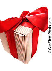 box gift with red ribbon isolated on white
