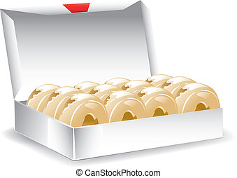 Box glazed donuts - Illustration of a box of freshly baked...