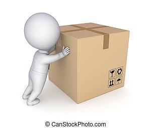 box., grande, pessoa, pequeno, caixa papelão, 3d